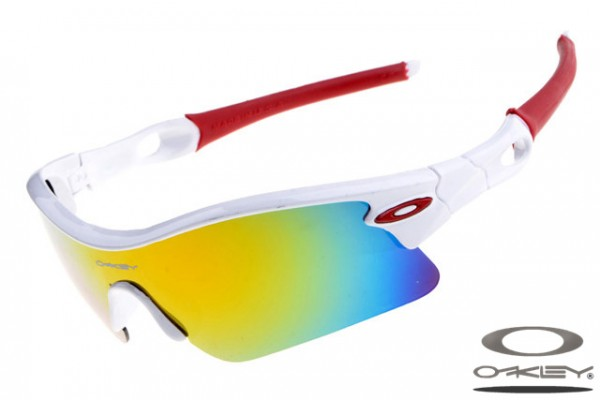 fe67d4e47eb55 Fake Oakley Radar Pitch sunglasses sale white and red frame yellow ...