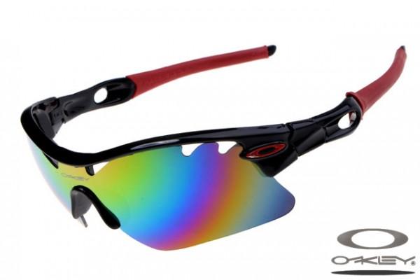 9834c48b422 Fake Oakley Radarlock Pitch sunglasses black and red frame rainbow ...