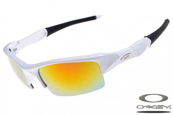 Top quality fake Oakleys Flak Jacket sunglasses white frame fire iridium  lens, oakley replicas for sale
