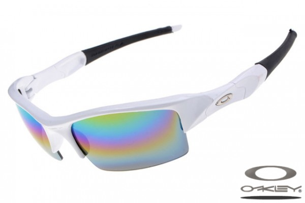 08fe7204821 Top quality fake Oakleys Flak Jacket sunglasses white frame rainbow ...